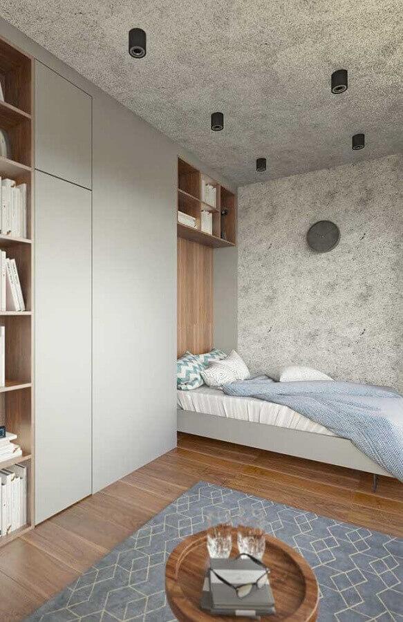 tons de cinza para quarto de solteiro moderno com guarda roupa planejado Foto Pinterest