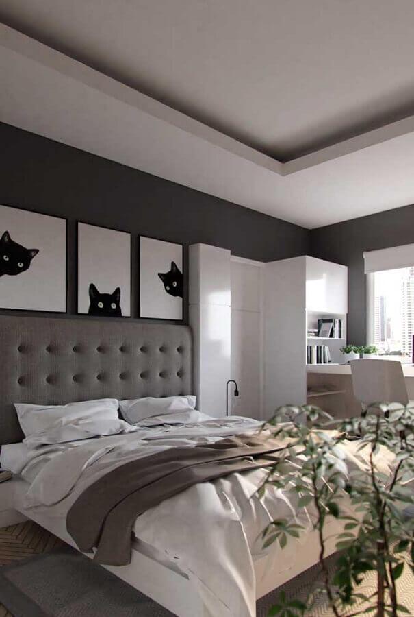 tons de cinza para quarto decorado com quadros de gatos Foto Pinterest
