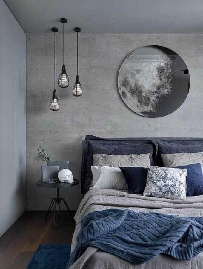 tons de cinza para quarto moderno decorado com luminária pendente aramado Foto Pinterest