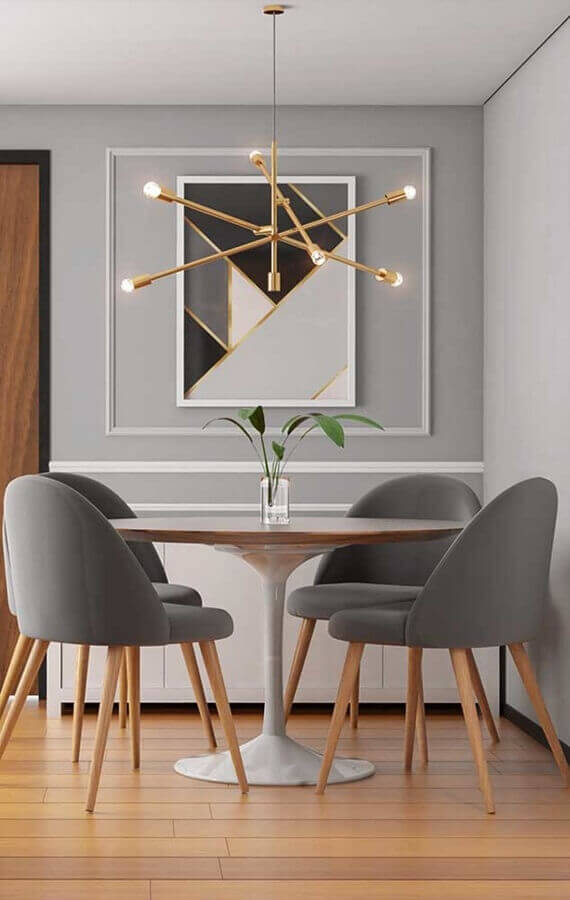 tons de cinza para sala de jantar decorada com lustre pendente moderno  Foto Behance