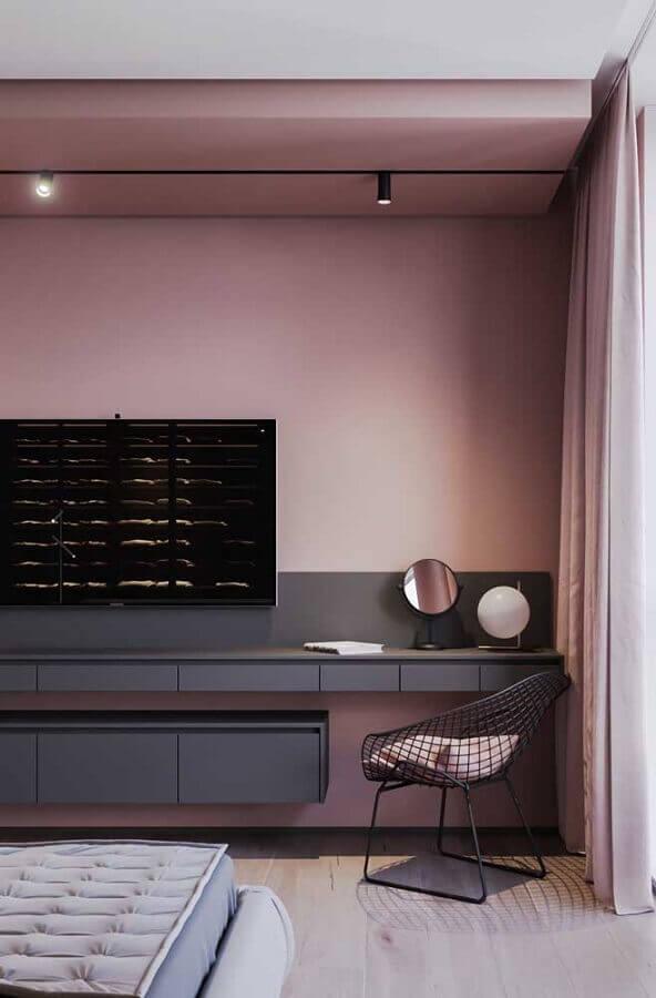 tons de cinza para sala decorada com parede cor de rosa  Foto Pinterest