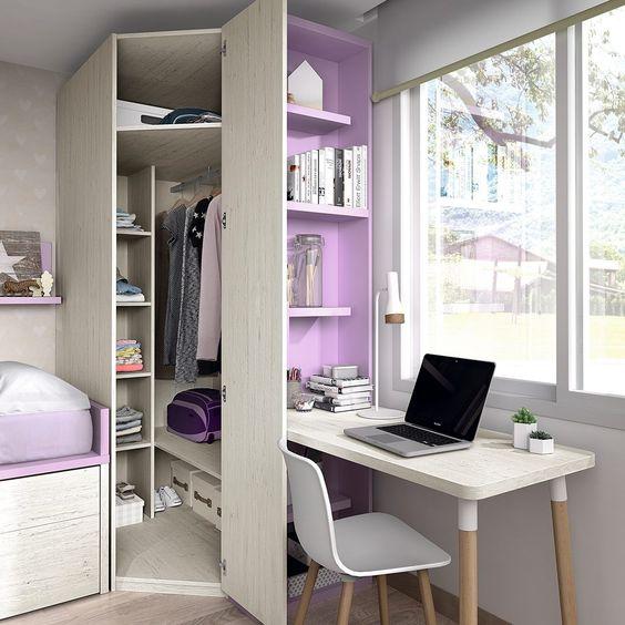 Armário de canto planejado para quarto de solteiro com escrivaninha