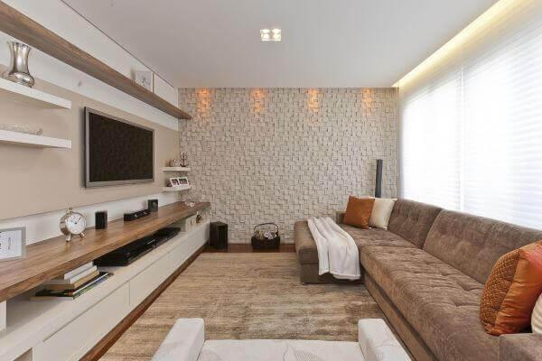 Azulejo 3D para sala grande decorada em tons neutros