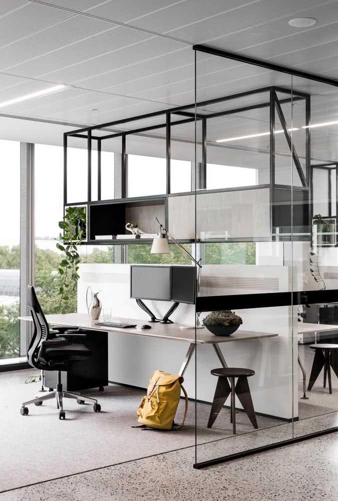 Divisória de vidro para escritório moderno com estante de ferro