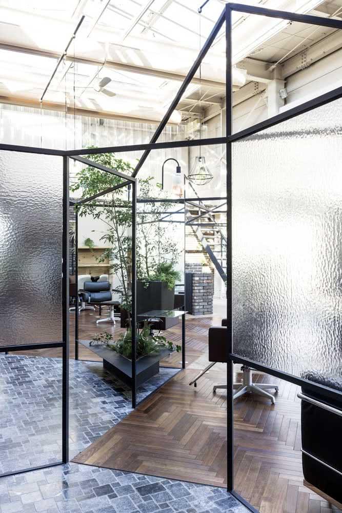 Divisórias de vidro fosco para escritório