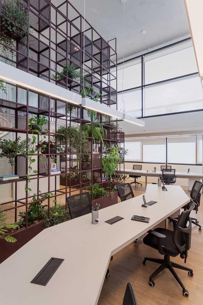 Estantes como divisórias para escritorio decorado com plantas