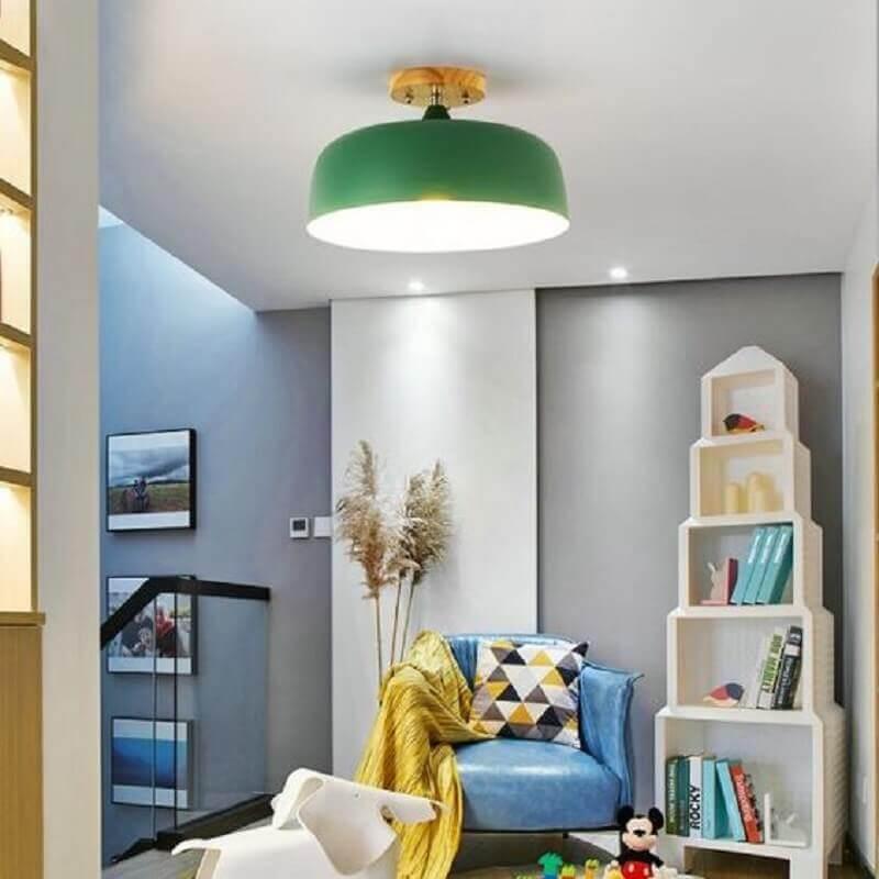 Luminária de teto verde para decoração de sala cinza pequena