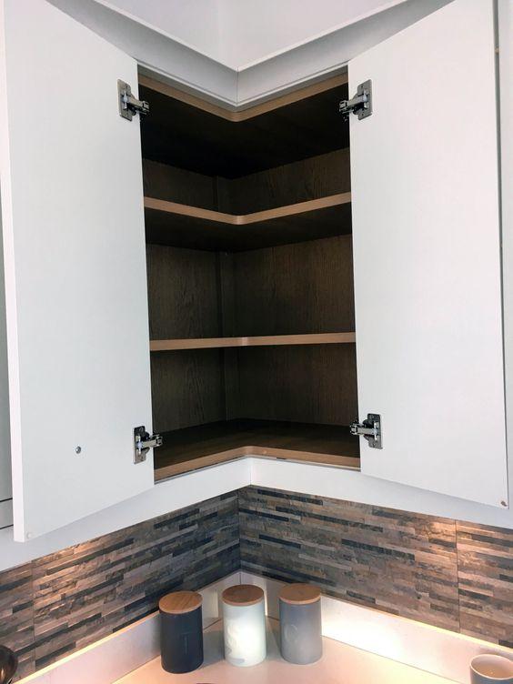 armário de canto - armário aéreo de cozinha de canto simples