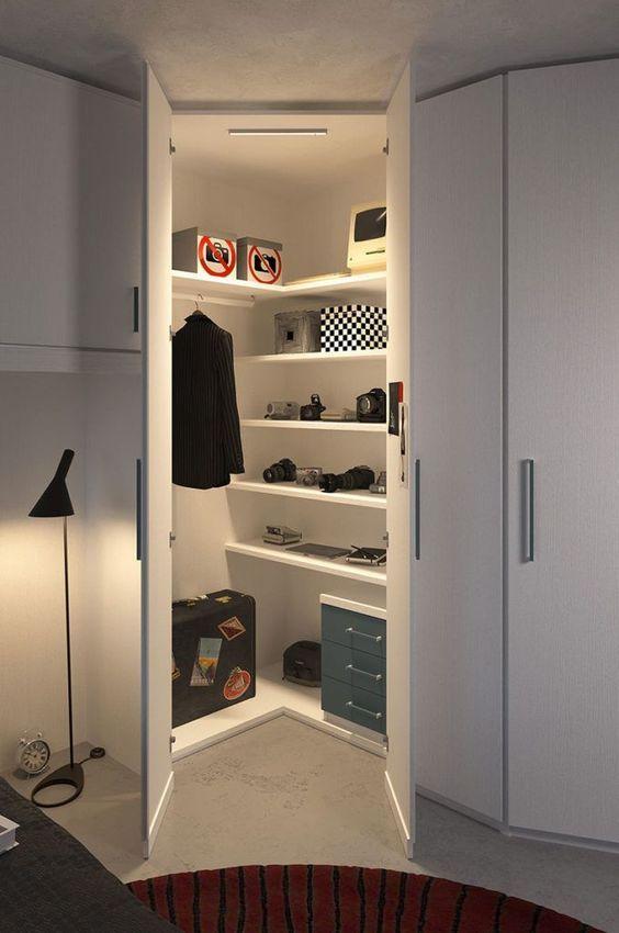 armário de canto - armário branco de canto com prateleiras