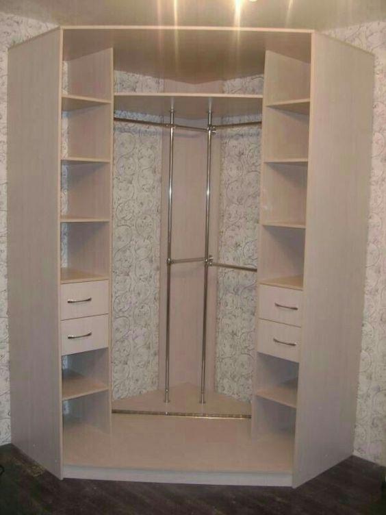 armário de canto - armário branco de canto simples com hastes