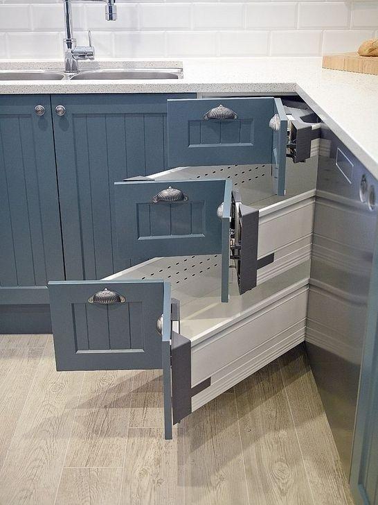 armário de canto - armário de cozinha com gavetas duplas