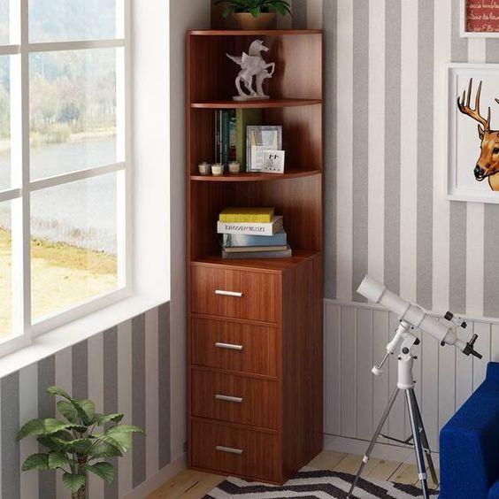 armário de canto - armário simples de canto com prateleiras e gavetas