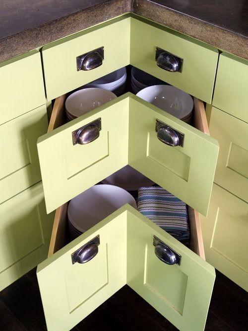 armário de canto - armário verde de canto com gavetas