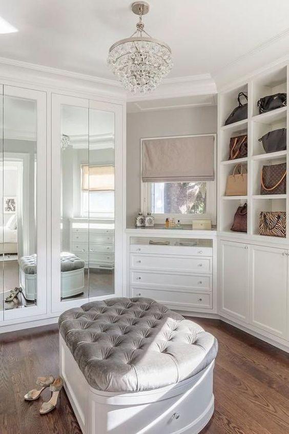 armário de canto - closet clássico com armários de canto branco