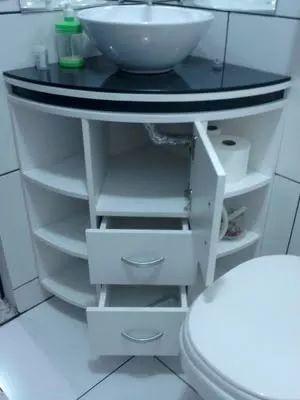 armário de canto - gabinete de banheiro curvo com gavetas