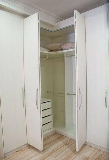 armário de canto - guarda-roupa de canto casal em apartamento pequeno