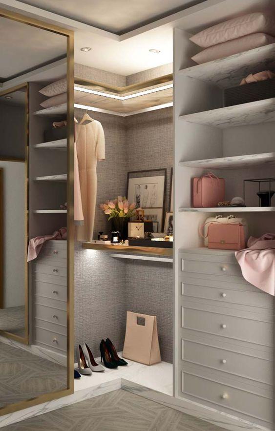 armário de canto - módulos de closet com muitas prateleiras