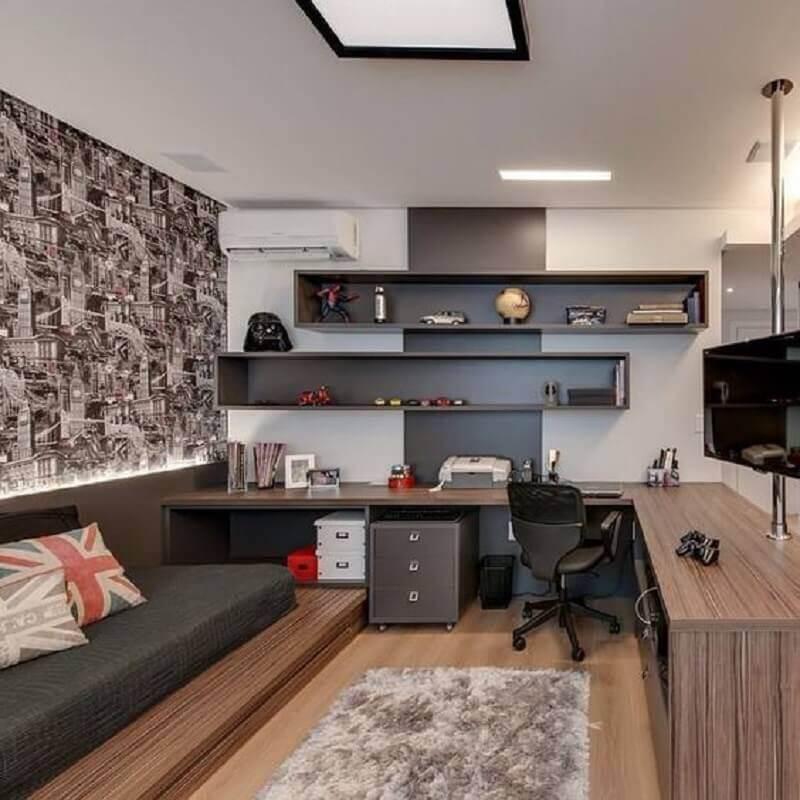 bancada de canto planejada para decoração de quarto solteiro com escritório Foto Pinterest