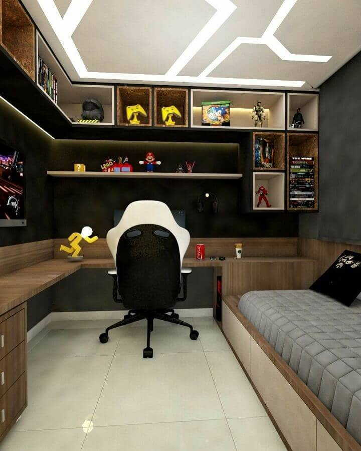 bancada de madeira de canto para decoração de quarto planejado com escritório  Foto Arkpad