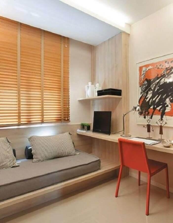 bancada de madeira para decoração de quarto planejado com escritório Foto Simples Decoração