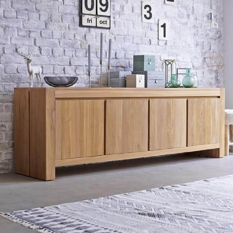 buffet aparador de madeira para decoração de sala com parede rústica Foto Pinterest