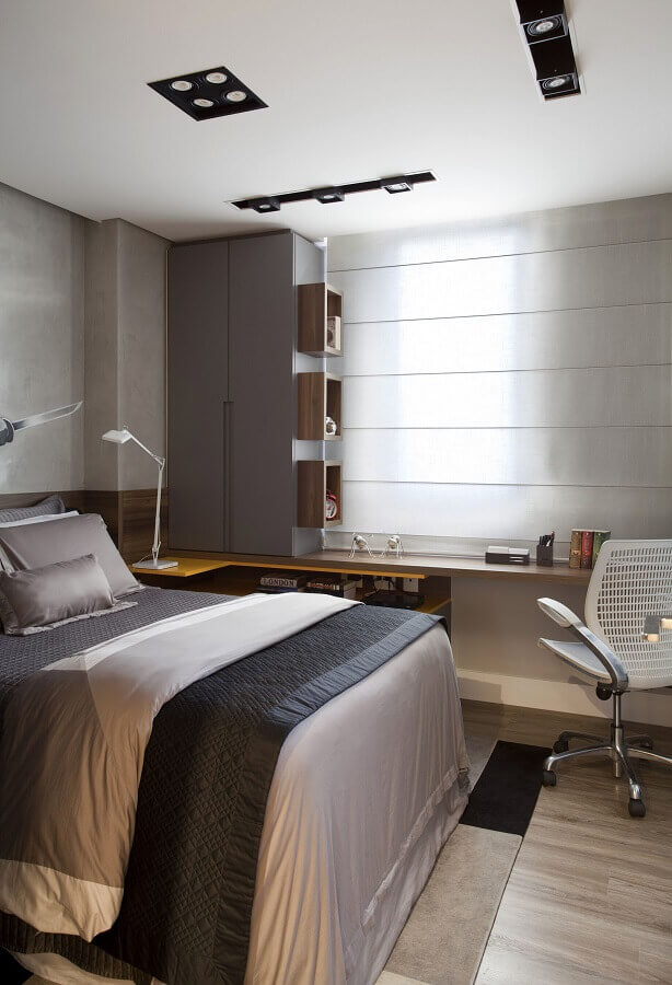 cadeira confortável para decoração de quarto de casal com escritório Foto Pinterest
