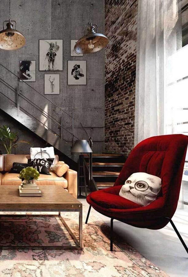 cadeira decorativa vermelha para decoração de sala estilo industrial Foto Futurist Architecture