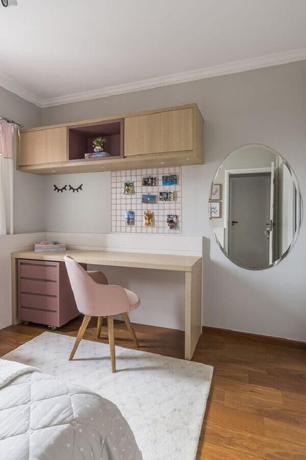 decoração clean para quarto feminino com escritório Foto Jeito de Casa