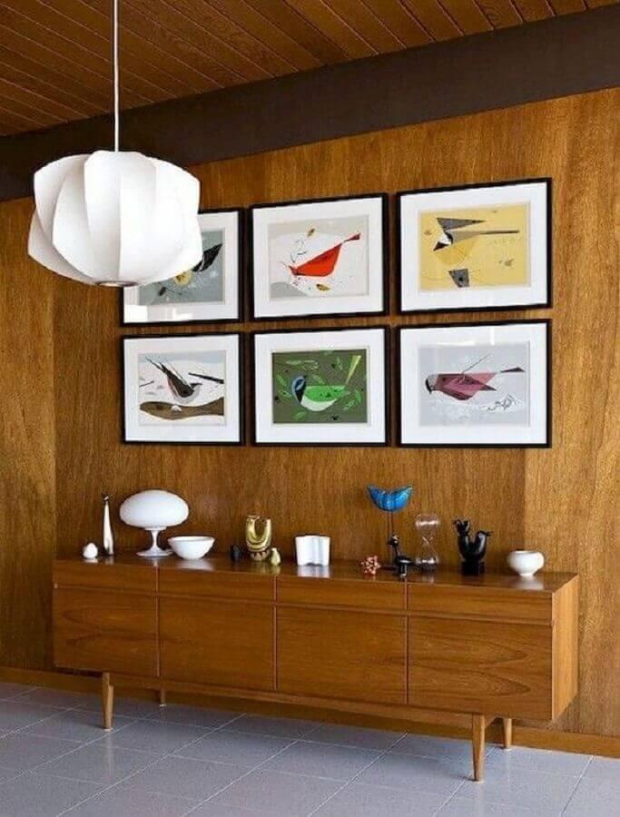 decoração com buffet de madeira para sala de jantar amadeirada Foto Essential Home