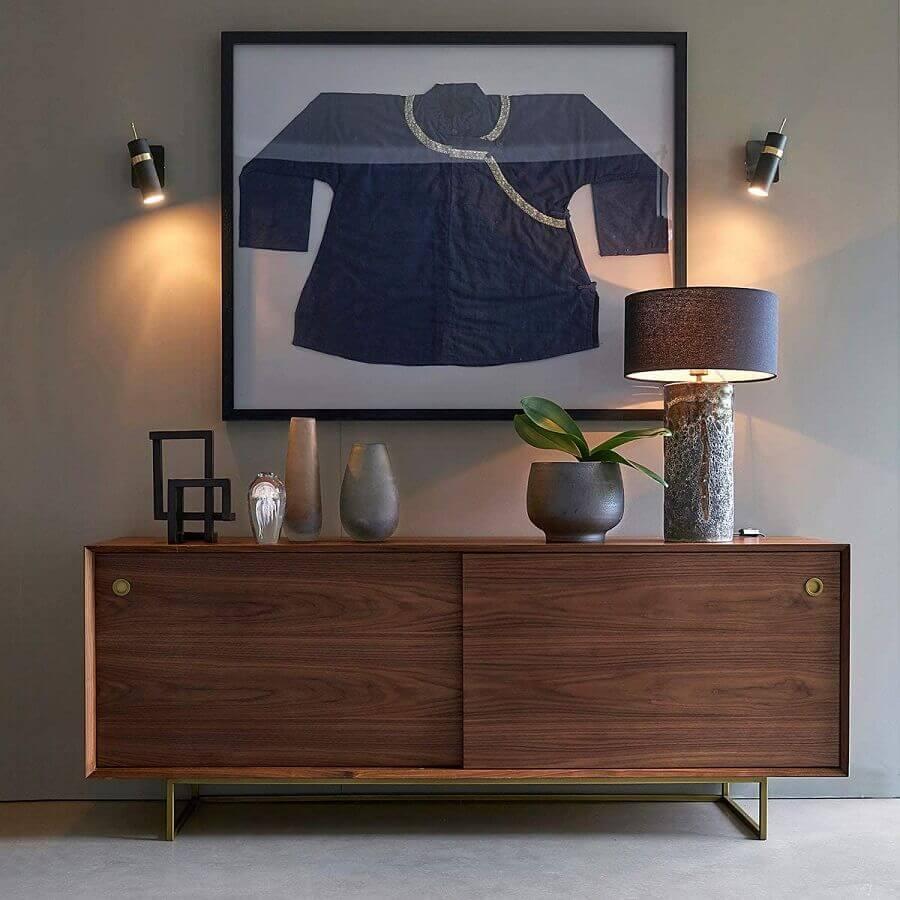 decoração de sala cinza com buffet de madeira moderno Foto La Redoute UK