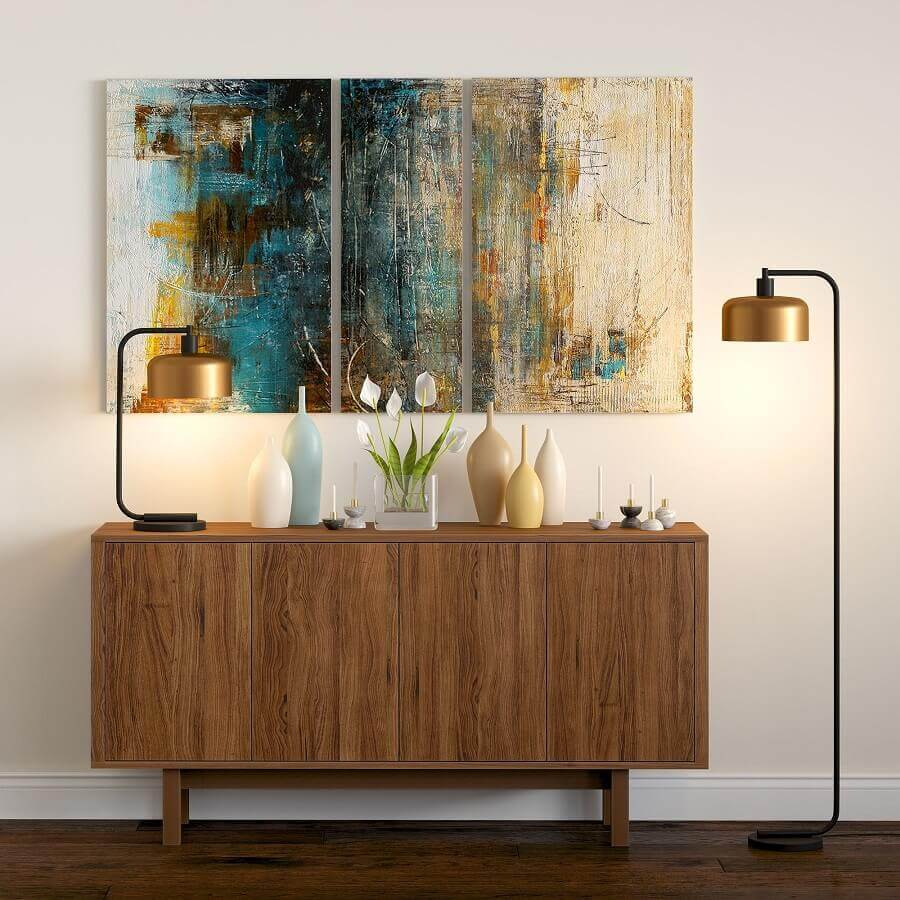 decoração de sala com luminária moderna e buffet de madeira pequeno Foto Overstock