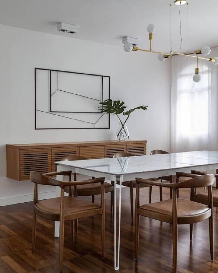 decoração minimalista com buffet de madeira para sala de jantar Foto Cristiana Bertolucci Estúdio