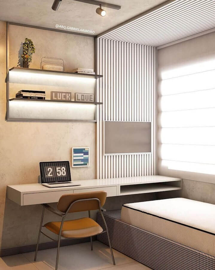 decoração moderna em cores neutras para quarto solteiro com escritório Foto Pinterest