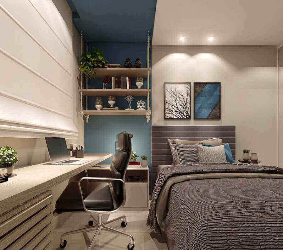 decoração moderna para quarto planejado com escritório Foto Eduardo Muzzi