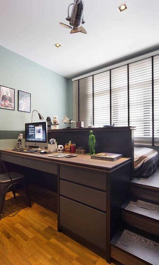decoração simples para quarto de casal com escritório Foto Pinterest