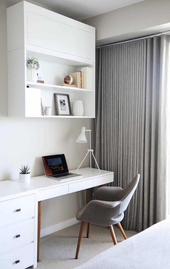 escrivaninha branca com cadeira moderna para decoração de quarto com escritório Foto Pinterest