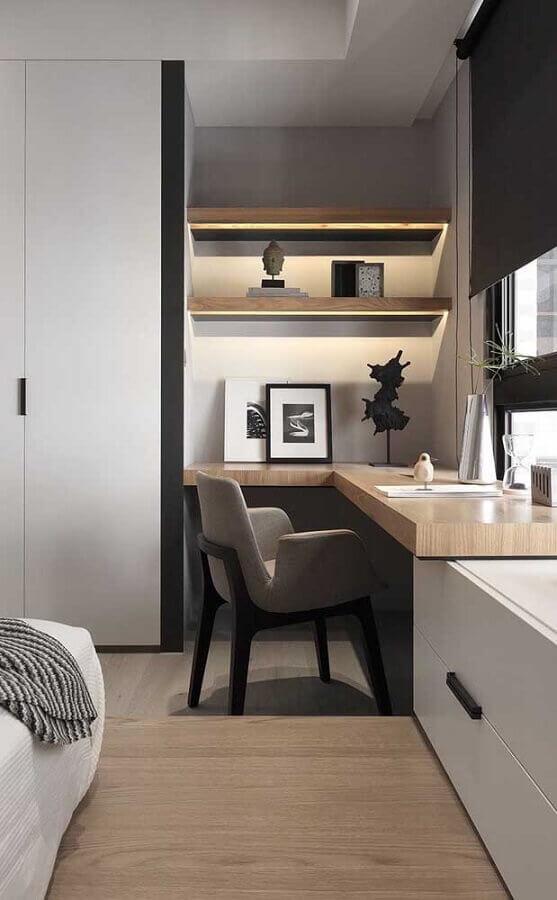 escrivaninha de canto para decoração de quarto planejado com escritório Foto Futurist Architecture
