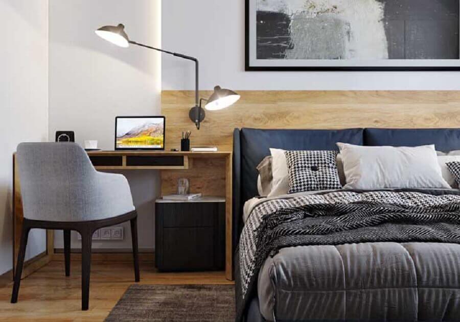 escrivaninha de madeira para decoração de quarto de casal com escritório Foto Pinterest