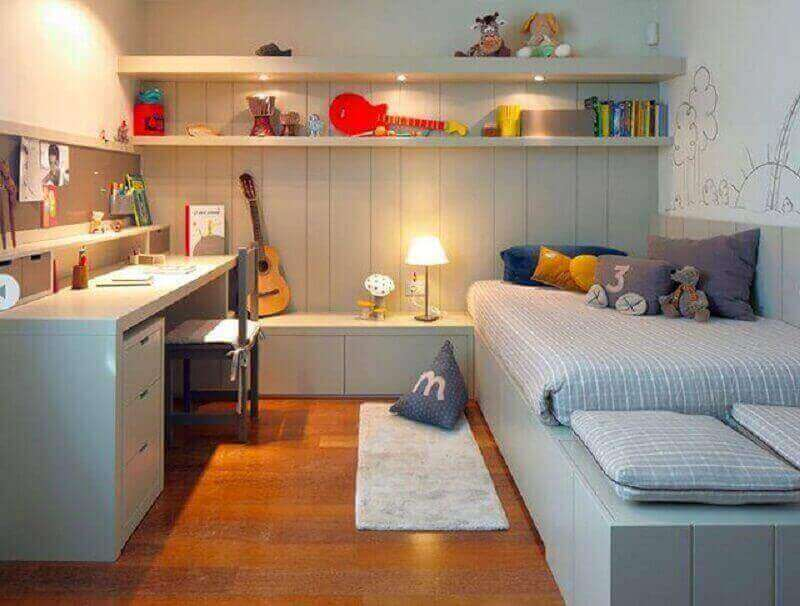 móveis planejados para decoração de quarto de solteiro com escritório Foto We Heart It