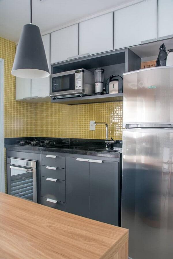 pastilhas de vidro para cozinha cinza e amarela Foto Pinosy