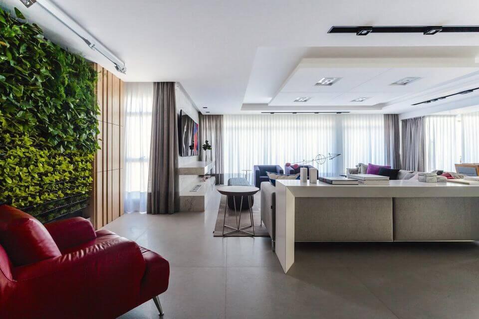 poltrona vermelha - sala de estar com poltrona de couro vermelho