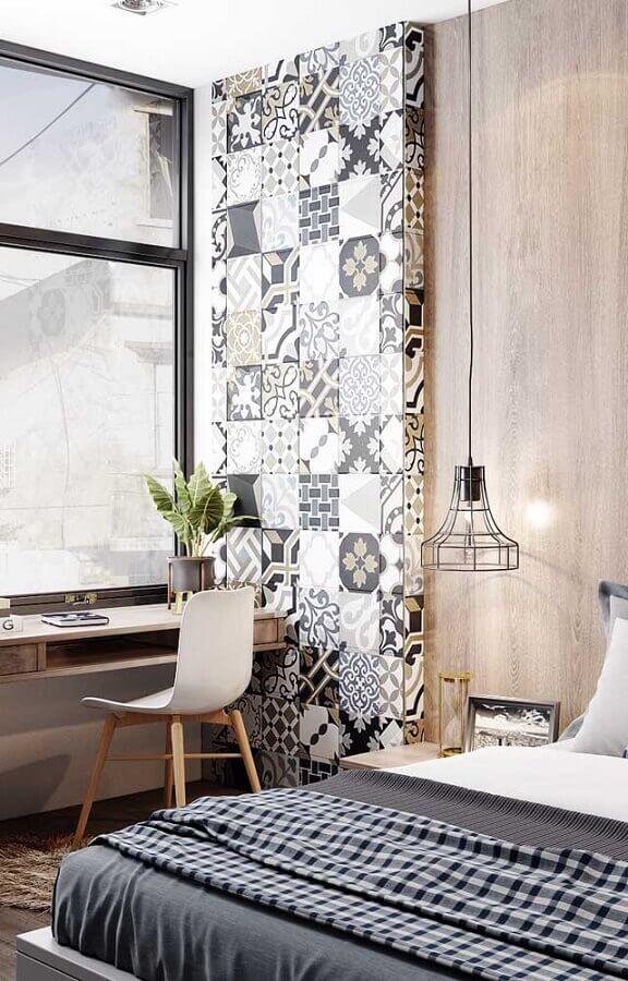 revestimento estampado para decoração de quarto com escritório Foto Pinterest