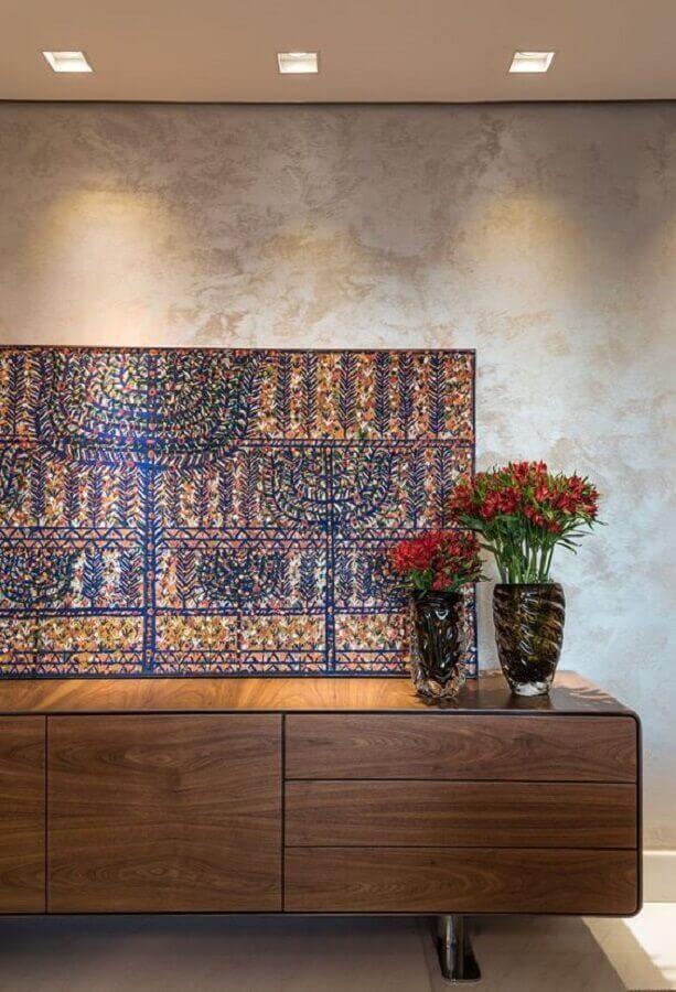 vasos de flores para decoração de buffet de madeira maciça Foto Andréa Buratto Arquitetura