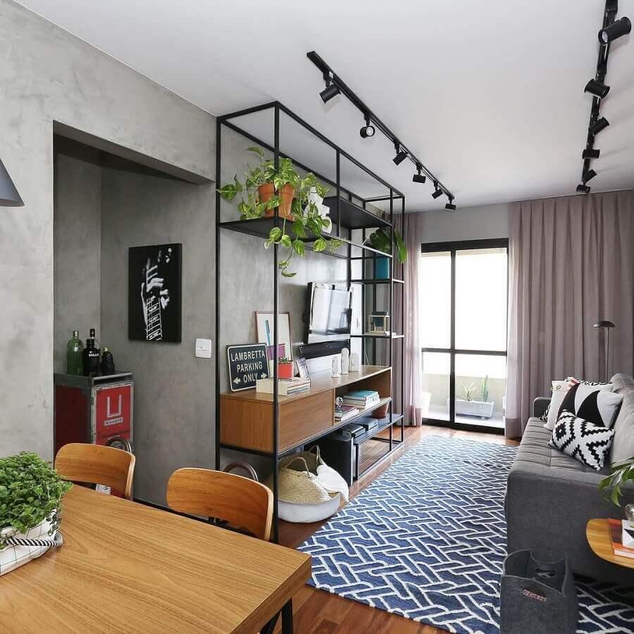 Cores para sala pequena decorada com estilo industrial Foto Mandril Arquitetura