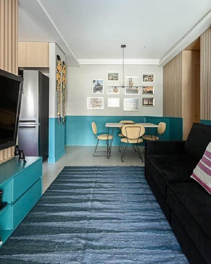 Cores para sala pequena de apartamento decorado com ambientes integrados Foto Lucilla Mesquita