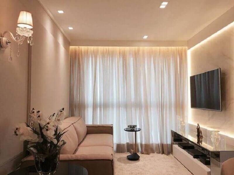 Cores para sala pequena decorada em tons de bege Foto Ponto 3 Arquitetura