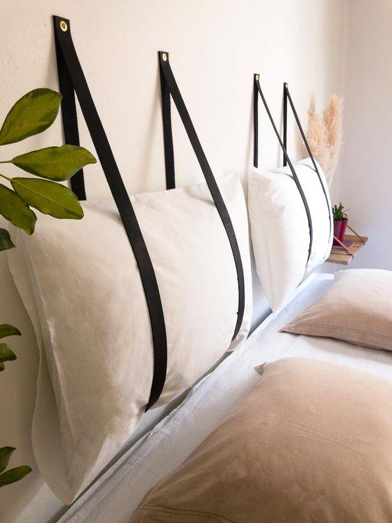 Almofada de cabeceira no quarto moderno e descolado