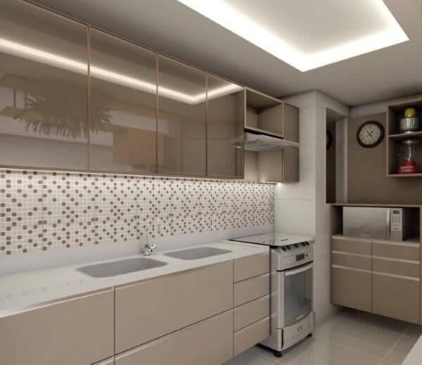 Armário de vidro para cozinha bege
