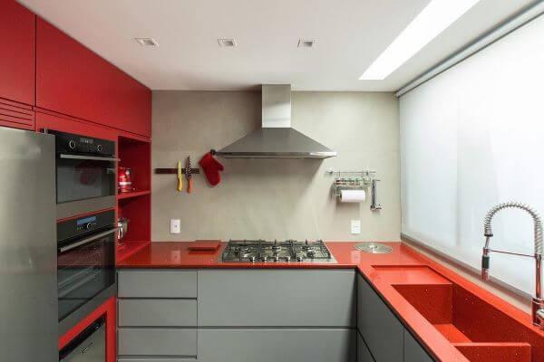 Bancada de quartzo vermelho para cozinha moderna