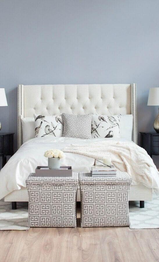 Cabeceira de camas box casal capitonê para quarto com decoração clássica Foto Decor Fácil